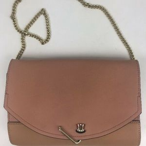 Danielle Nicole Pink Brown Leather Chain Purse